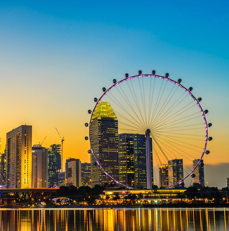 Singapore - June 23, 2014: View from distance to Singapore Flyer