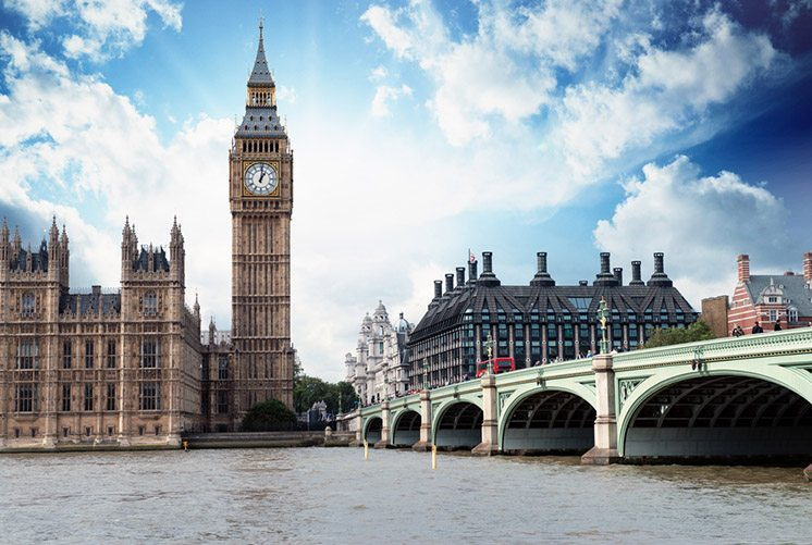 The Big Ben, the Houses of Parliament and Westminster Bridge in