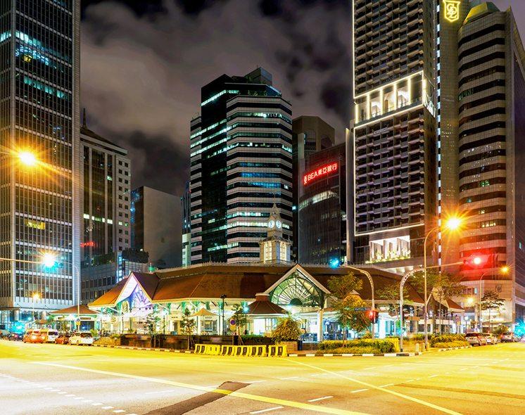 Telok Ayer Market at night in Singapore center