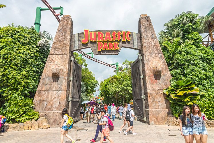 SINGAPORE - JULY 20: Jurassic Park theme in Universal Studios Si