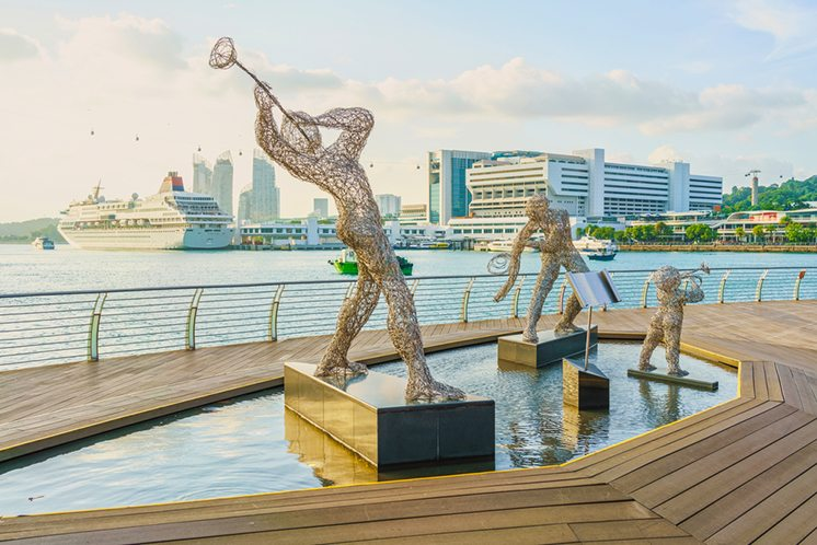 Sculptures of Jazz Players and Singapore Cruise Center near Harb