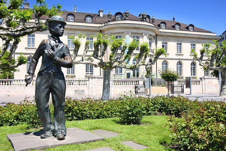 VEVEY, SWITZERLAND - 24 MAY: Bronze statue of comedian actor Cha