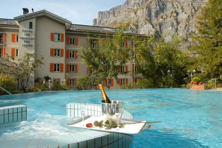 Swimming pool of a hotel at Leukerbad