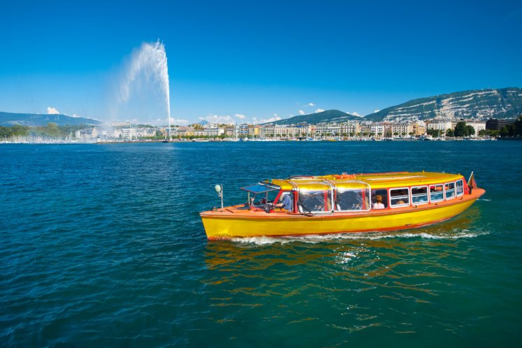 Lake Geneva Water Taxi Jet D'eau Water Fountain