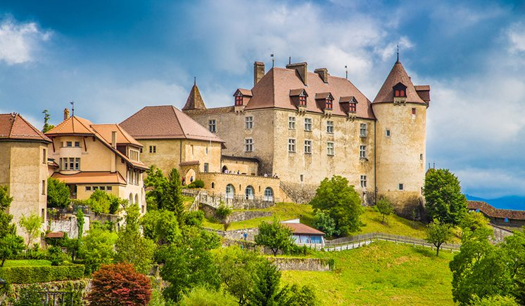 Medieval town of Gruyeres, Fribourg, Switzerland
