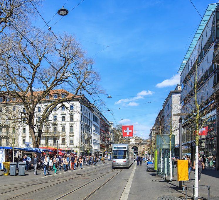View along the Bahnhofstrasse street in Zurich