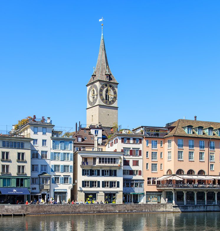Clock tower of the St. Peter Church in Zurich, Switzerland