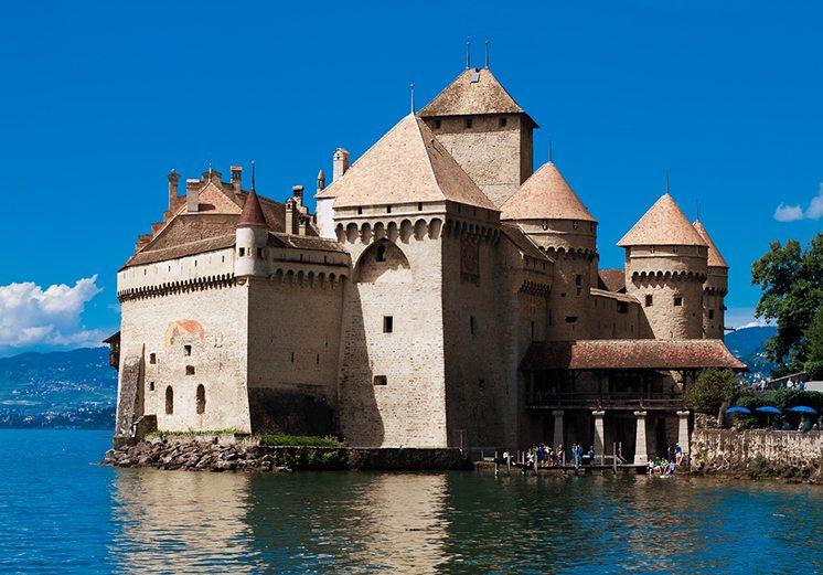 MONTREUX, SWITZERLAND - AUGUST 8: Chillon Castle (Chateau de Chi
