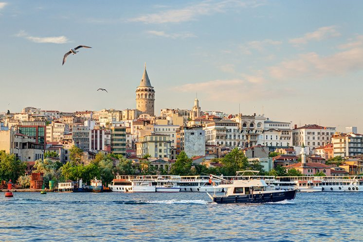 View of Galata district at sunset, Istanbul, Turkey