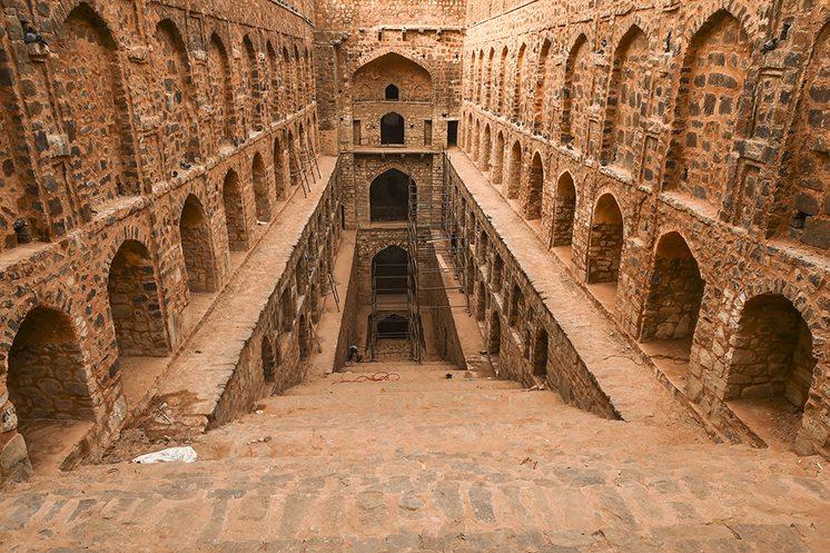Delhi, India-March 01, 2015:Underground step-well Ugrasen ki Bao