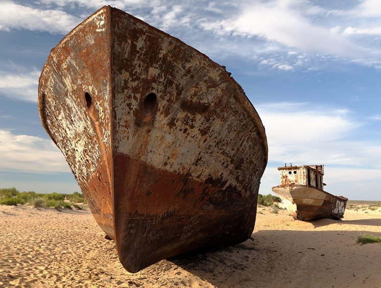 Boats in desert around Moynaq, Muynak or Moynoq - Aral sea or Ar
